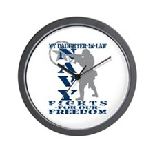 Dghtr-n-Law Fights Freedom - NAVY Wall Clock