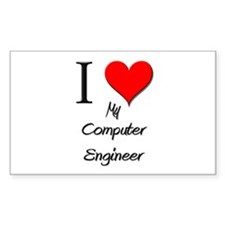 I Love My Computer Engineer Rectangle Decal