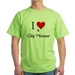 I Love My City Planner Green T-Shirt
