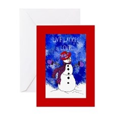 Red Hat Lady Snowperson Holiday Card