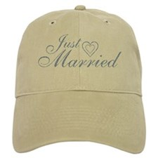 Just Married - Blue Heart Baseball Cap