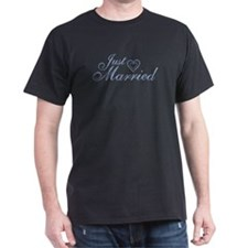 Just Married - Blue Heart T-Shirt
