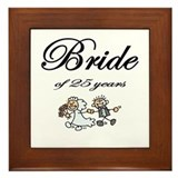 25th Wedding Anniversary Gifts Framed Tile