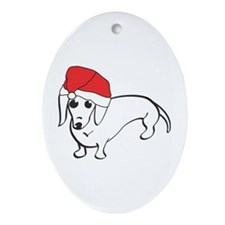 Santa Dachshund Oval Ornament