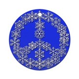 Blue Snowflake Peace Sign Holiday Ornament
