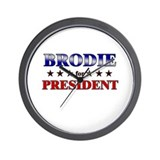 BRODIE for president Wall Clock