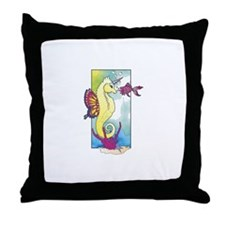 Seahorse Unicorn Throw Pillow