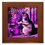 Violet Kitty Fiddling Framed Tile