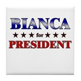 BIANCA for president Tile Coaster