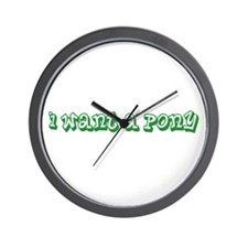 Green I Want A Pony Wall Clock