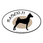 Basenji w. text (black border) Oval Sticker