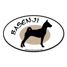 Basenji Black & Tan (black border) Oval Decal