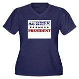 AUBREE for president Women's Plus Size V-Neck Dark