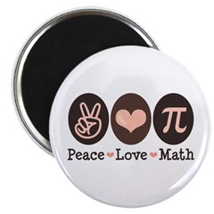 "Peace Love Math Pi 2.25"" Magnet (10 pack)"