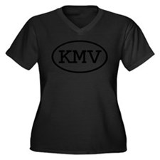 KMV Oval Women's Plus Size V-Neck Dark T-Shirt
