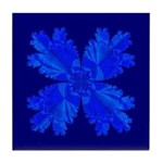 Blue Flower Fractal Tile Coaster