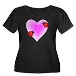 Ladybug Love Women's Plus Size Scoop Neck Dark T-S