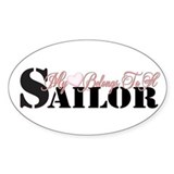 My Heart Belongs To A Sailor Oval Decal