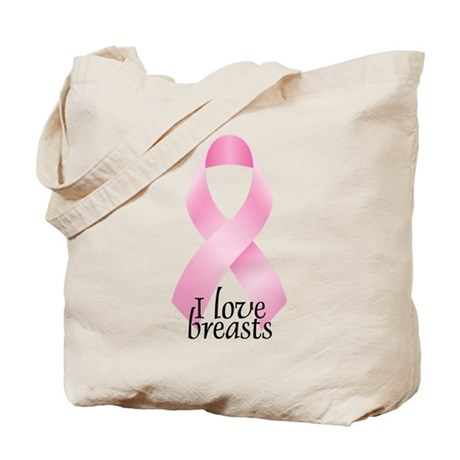 I Love Breasts Ribbon Tote Bag