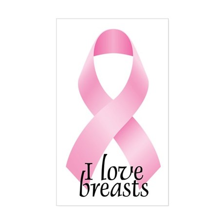 I Love Breasts Ribbon Rectangle Sticker