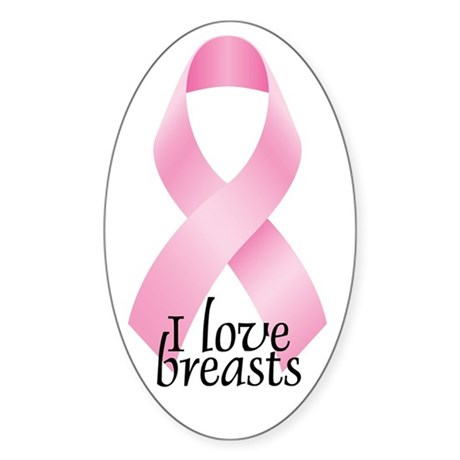 I Love Breasts Ribbon Oval Sticker