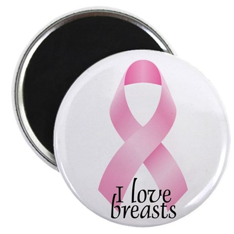 I Love Breasts Ribbon Magnet
