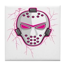 Pink Lightning Goalie Mask Tile Coaster