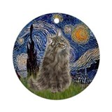 Starry NIght Norwegian Forest cat Ornament (Round)