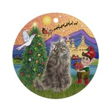 Xmas Fantasy Norwegian Forest cat Ornament (Round)