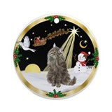Night Flight Norwegian Forest cat Ornament (Round)