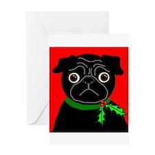 Holly (Black) Greeting Card