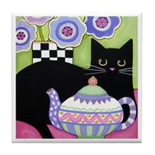 Black CAT & Teapot ART Tile