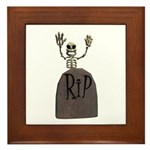 Tombstone & Skeleton Design Framed Tile