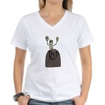 Tombstone & Skeleton Design Women's V-Neck T-Shirt