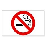 International No Smoking Sign Sticker (Rectangular