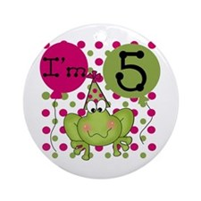 Frog 5th Birthday (pink) Ornament (Round)