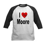 I Love Moore Kids Baseball Jersey