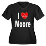I Love Moore (Front) Women's Plus Size V-Neck Dark