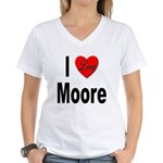 I Love Moore (Front) Women's V-Neck T-Shirt