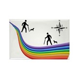 Rainbow Hikers and Dogs Rectangle Magnet