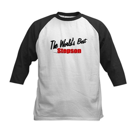 """The World's Best Stepson"" Kids Baseball Jersey"