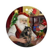 Santa's Tortie Persian cat Ornament (Round)