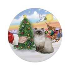 Treat for Santa's Himalayan cat Ornament (Round)