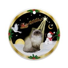 Wreath (G) & Himalayan cat Ornament (Round)