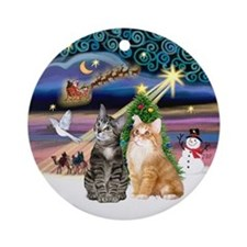 Xmas Magic with 2 cats Ornament (Round)