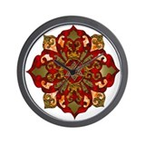 Red Hanukkah Mandela Wall Clock