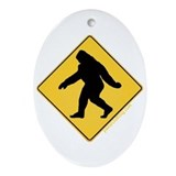 Big Foot Crossing Oval Ornament