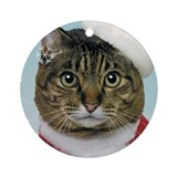 Santa Cat Christmas Ornament (Round)