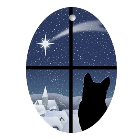 Silent Night Christmas Oval Ornament