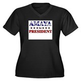 AMAYA for president Women's Plus Size V-Neck Dark